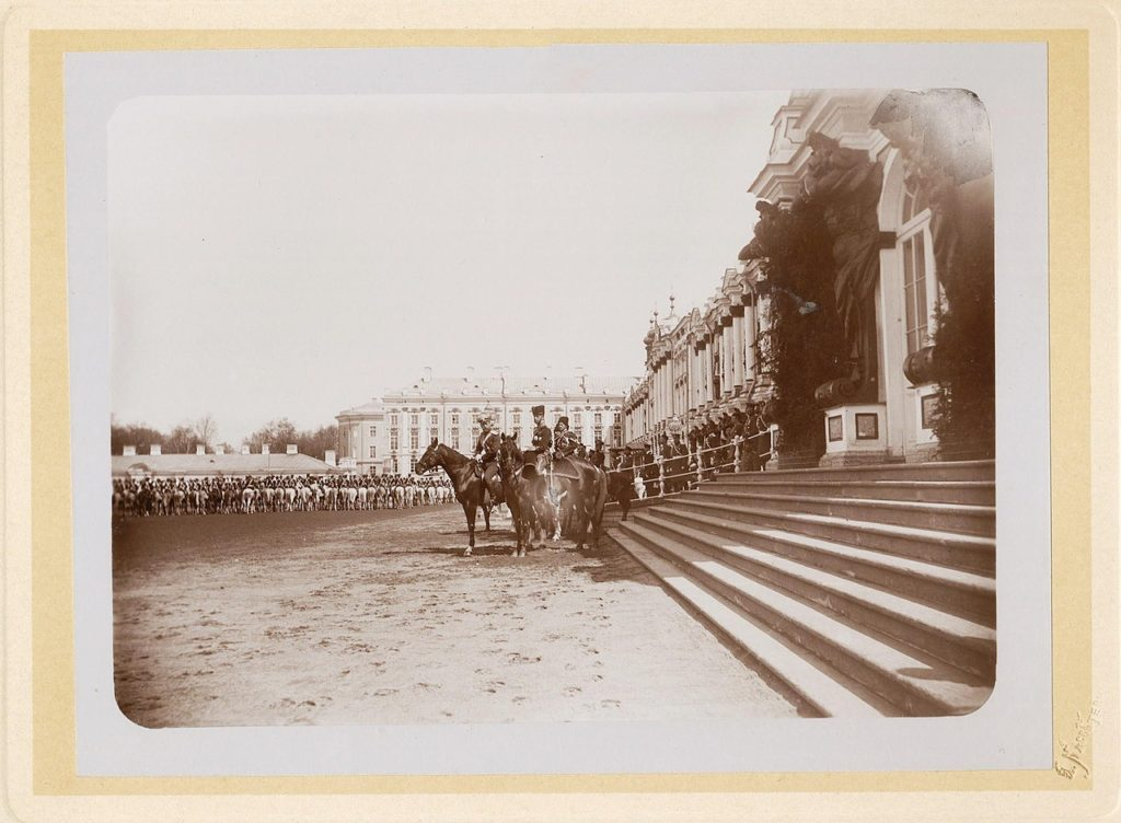 Emperor Nicholas II prepares for the review of the Leib Guards of the Hussar Regiment.