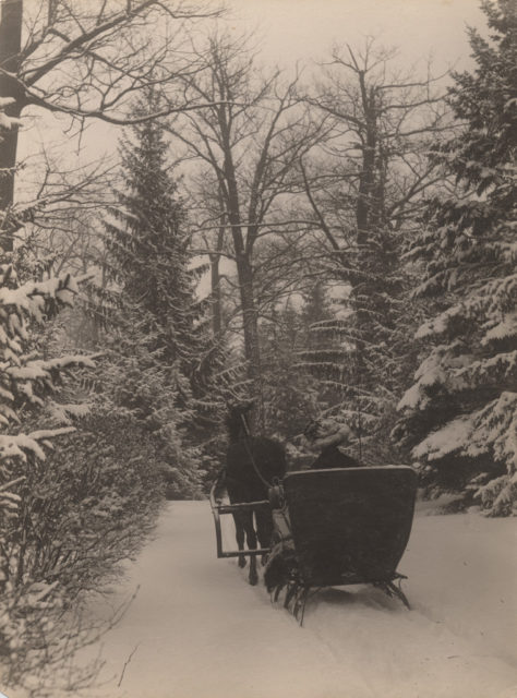 Sledding in winter, 1909