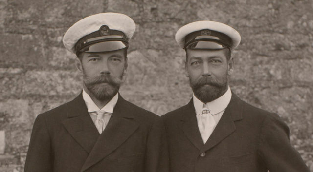 Tsar Nicholas II of Russia and George, Prince of Wales, outside Barton Manor, Isle of Wight  4 Aug 1909