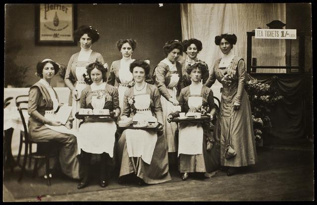 WSPU waitresses at Women's Exhibition, 1909.