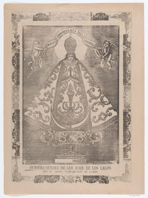 Broadsheet with image of Our Lady of San Juan de los Lagos, venerated in Jalisco