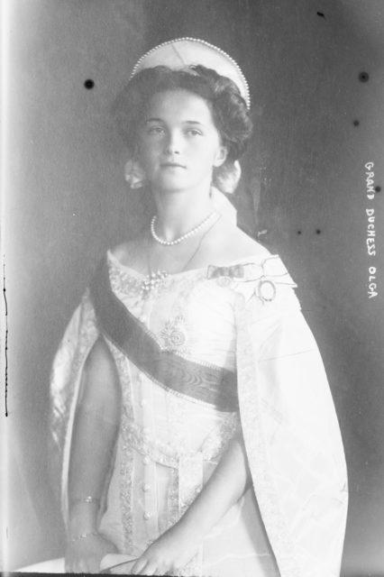 Grand Duchess Olga in court dress, 1910