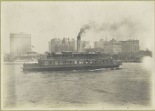 Another view of the ferry boat, as it nears Battery Park. Th...