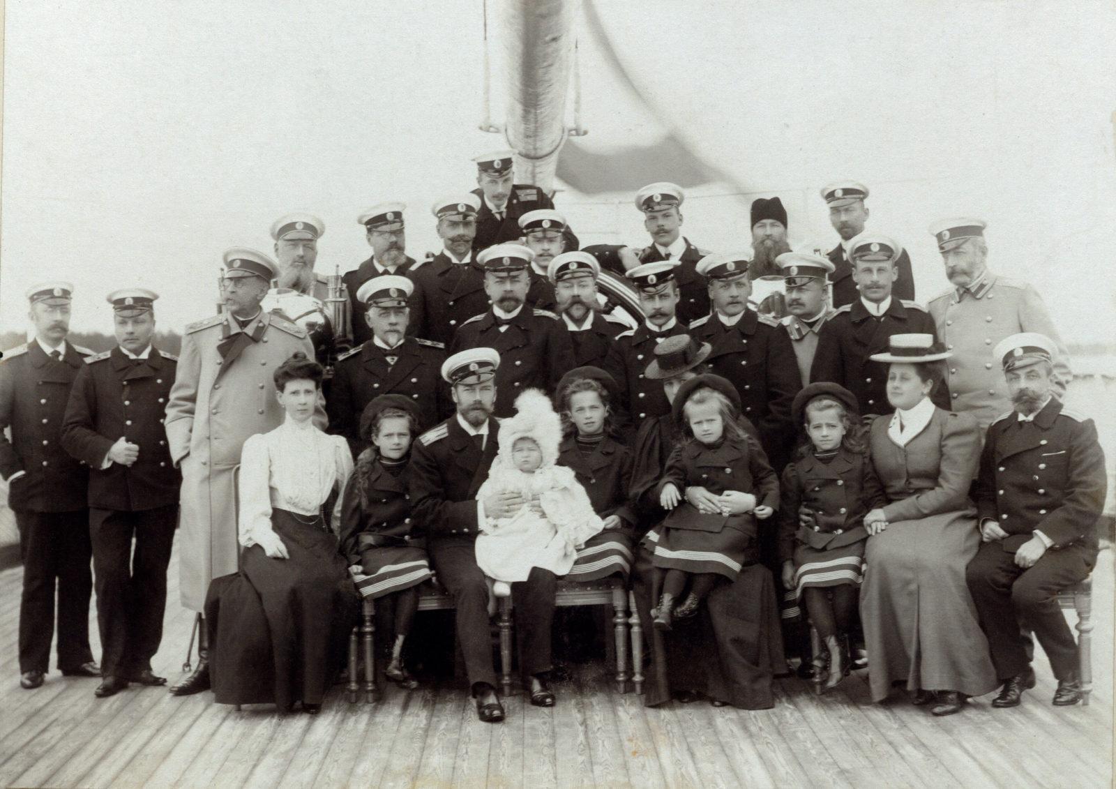 Emperor Nicholas II, Empress Alexandra Feodorovna, Grand duchesses Tatiana, Olga, Maria, Anastasia, tsesarevitch Alexei with navy officers on Imperial yacht Standard