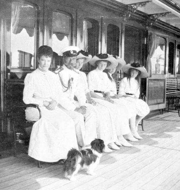 From left to right Dowager Empress Marie,Tsar Nicholas II,Grand Duchesses Olga,Tatiana,Marie, and Anastasia