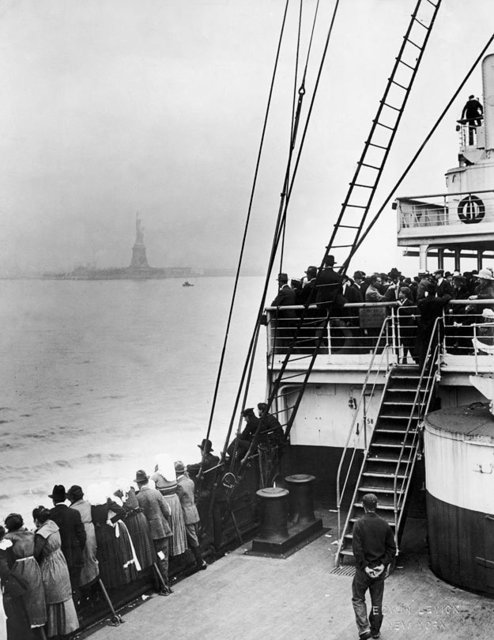 Immigrants Approaching Statue of Liberty
