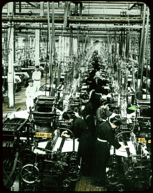 Machine-weaving in factory.