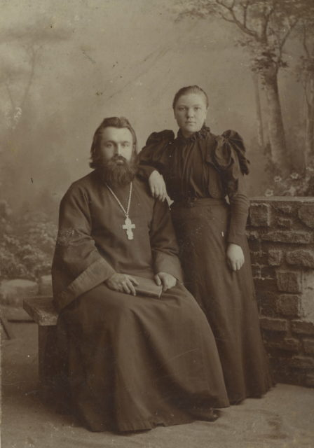 Priest Ivan Ivanovich Sceptre with his wife. Murom, Vladimir Province, Russia