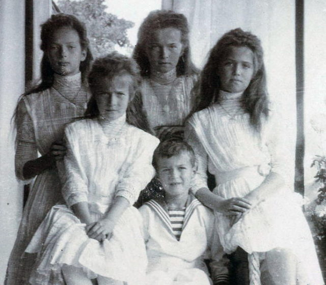 Tatiana, Anastasia, Olga, Marie, with Alexis in the Front