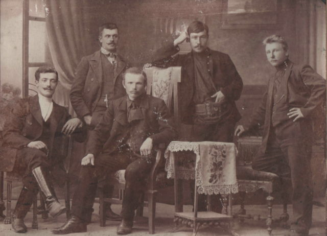 The builders of the railway bridge across the Oka. 1910. Murom, Vladimir Province, Russia