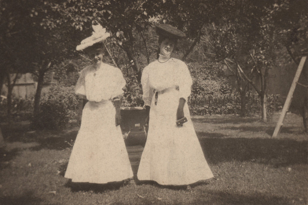 Two women in garden, date unknown