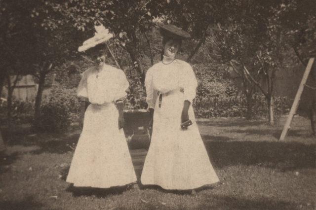 Two women in garden, date unknown