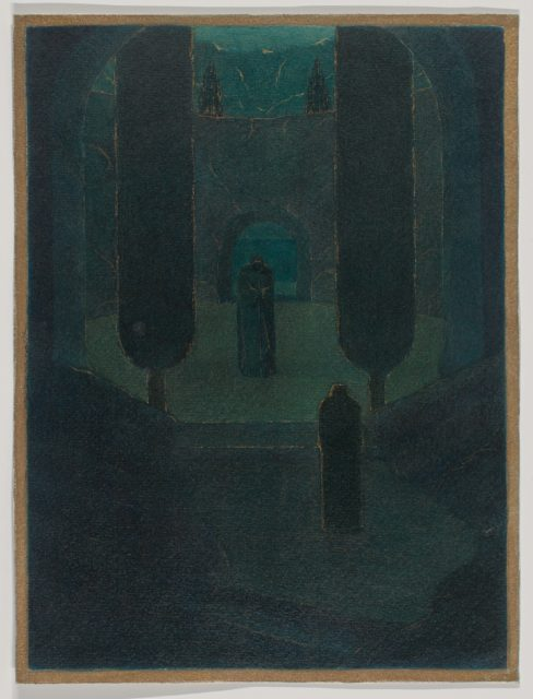 Cloaked Figures in a Dark Garden, possibly a stage set design