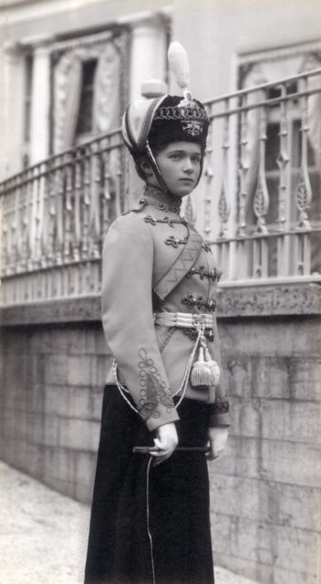 Grand Duchess Olga Nikolaevna in hussar uniform