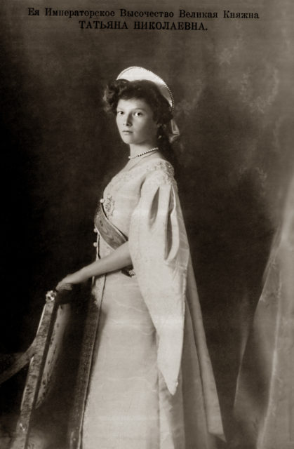 Grand Duchess Tatiana Nikolaevna. The second daughter of Emperor Nicholas II and Empress Alexandra Feodorovna. Official portrait. Photo of 1911.