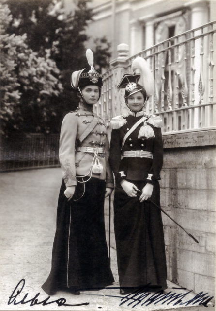 Grand Duchesses Tatiana, in the 8th Voznesensky Regiment uniform, and Olga in 3rd Hussar Elisavetgrad Regiment military uniform. 1911.
