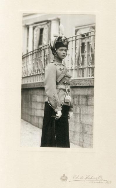 Her Imperial Highness Grand Duchess Olga Nikolaevna in the uniform of the Chief of the 3rd Hussar Elisavetgrad Regiment.