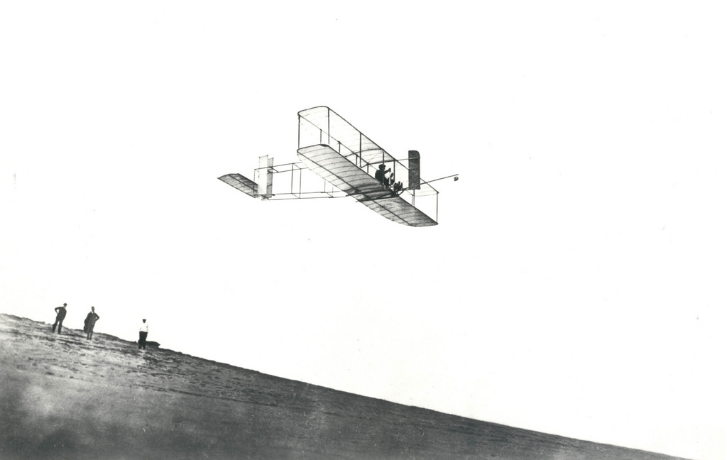 Orville Wrights Test His Glider at Kitty Hawk, NC