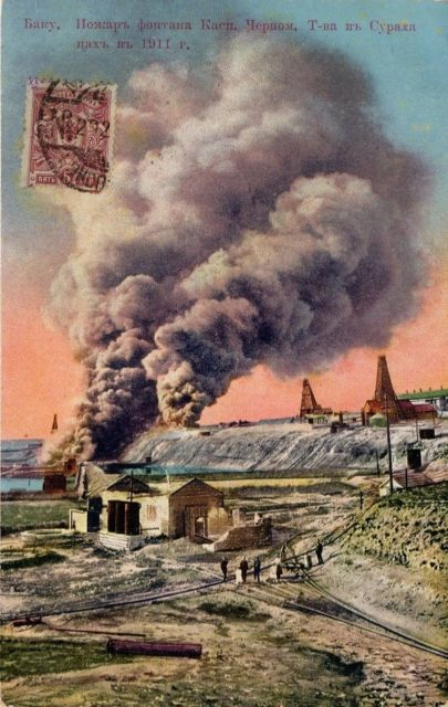 The fire of the oil fountain of the Caspian-Black Sea comrade Surakha Tsakh in 1911.