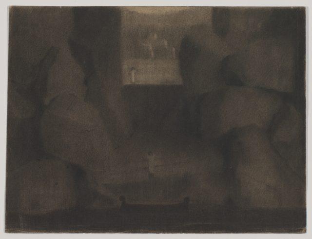 Arrival in a Dark Landscape, possibly a stage set design