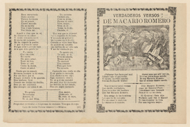 Broadside with verses regarding the military leader Macario Romero, who is shown on horseback riding alongside Indians