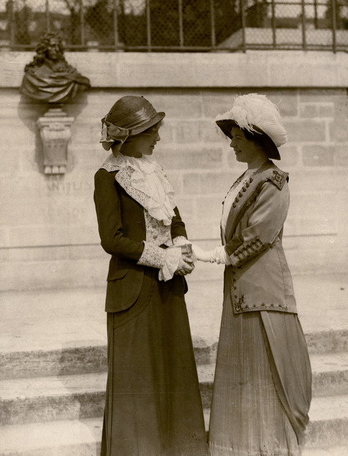 Christabel Pankhurst with an unidentified woman, c.1912.