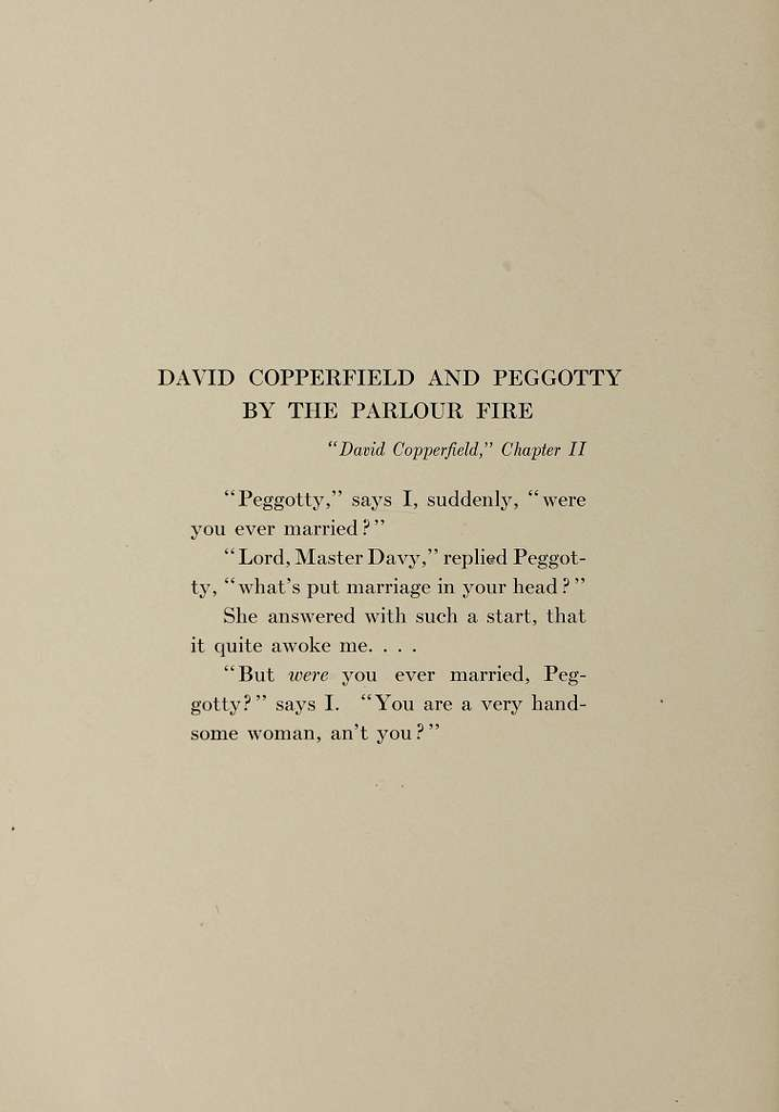 David Copperfield and Peggotty bt The Parlour Fire. Dickens's Children illustrated by Jessie Willcox Smith, 1912