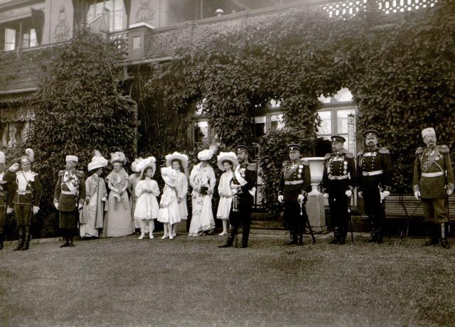 Emperor Nicholas II, Empress Alexandra Feodorovna, Grand duchesses Tatiana, Olga, Maria, Anastasia, tsesarevitch Alexei with officers