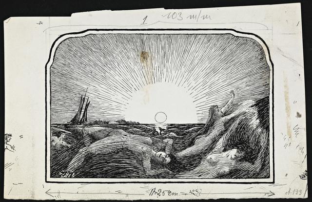 Havfruer i sjøen ved soloppgang