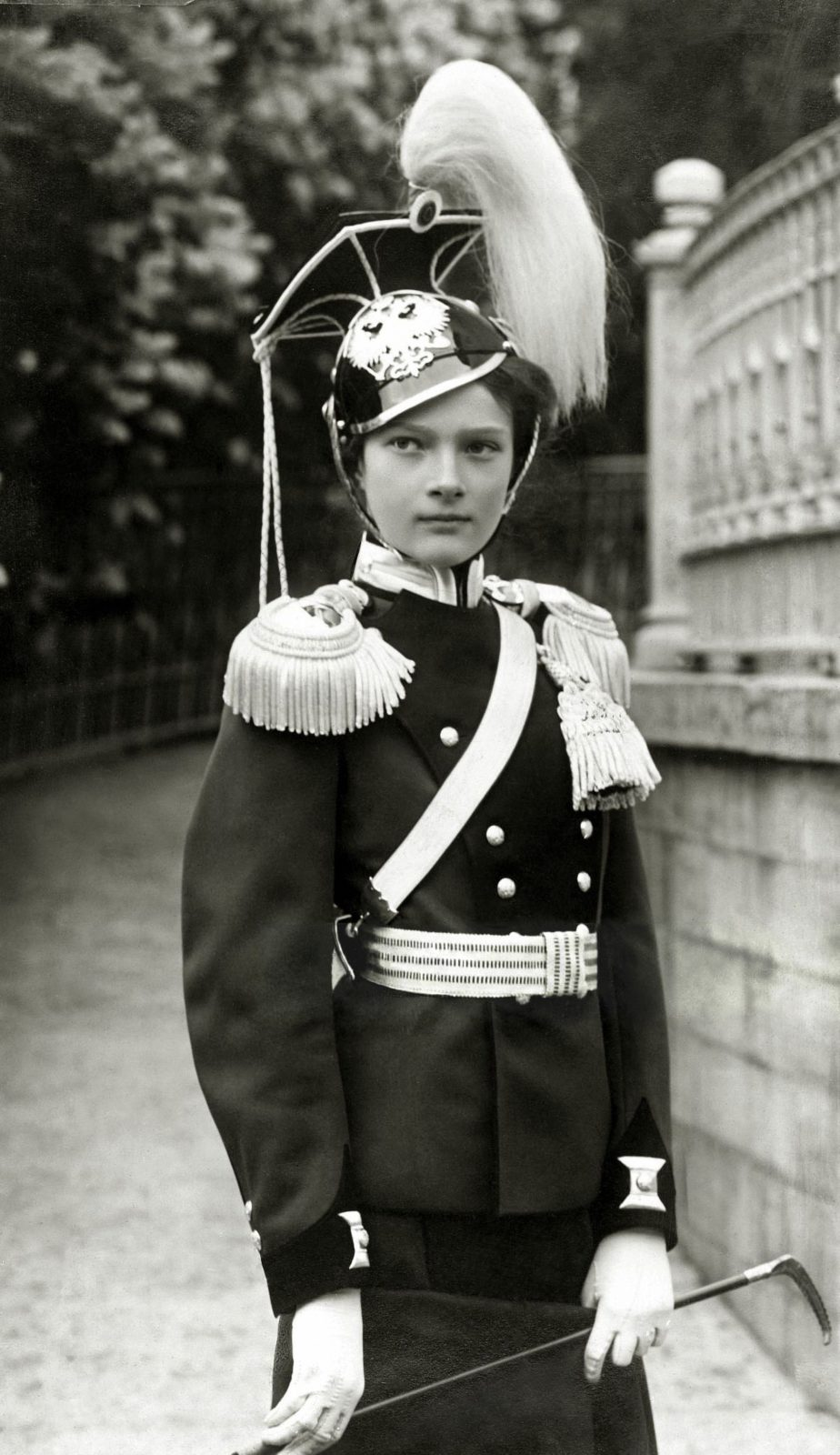 Her Imperial Highness Grand Duchess Tatiana in the uniform of the Chief of the 8th Voznesensky Ulan Regiment. 1912 year.