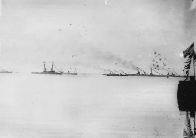 Imperial yachts Standard and Polar Star and battleships Pavel I and Andrew Pervozvanny. Meeting of Nicholas II with Wilhelm II