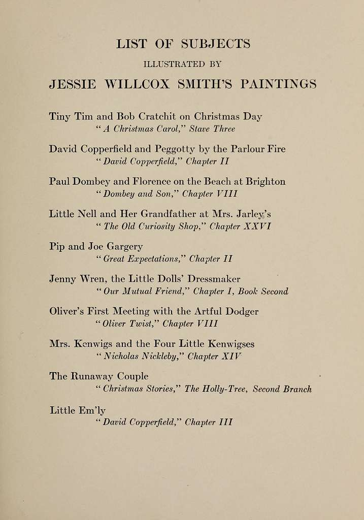 List of subjects. Dickens's Children illustrated by Jessie Willcox Smith, 1912