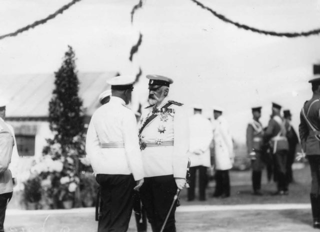 Marine Minister Grigorovich with officers - arrival of the German Emperor Wilhelm II