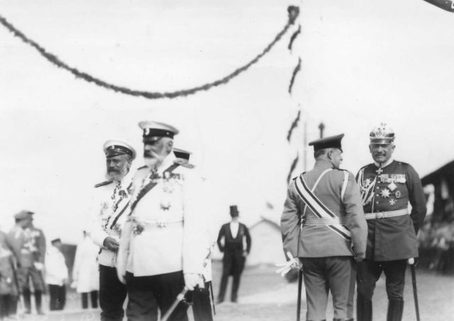 Marine Minister IK Grigorovich talking with German officer. Meeting of Nicholas II with Wilhelm II