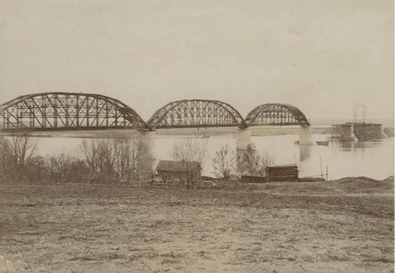 Railway bridge across the Oka River. Murom, Vladimir Province, Russia