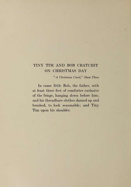 Tiny Tim and Bob Cratchit on Christmas Day. Dickens's Children illustrated by Jessie Willcox Smith, 1912