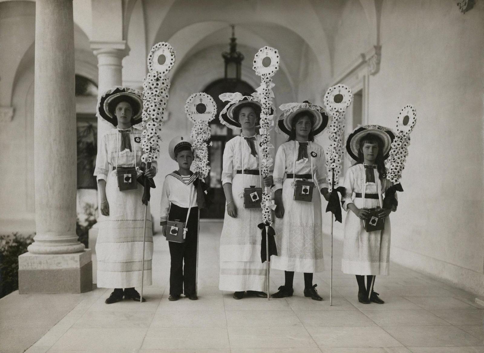 Tsarevich Alexei and Great Princes Olga, Tatiana, Maria and Anastasia. Festival of the White Flower. Livadia in the year 1912.