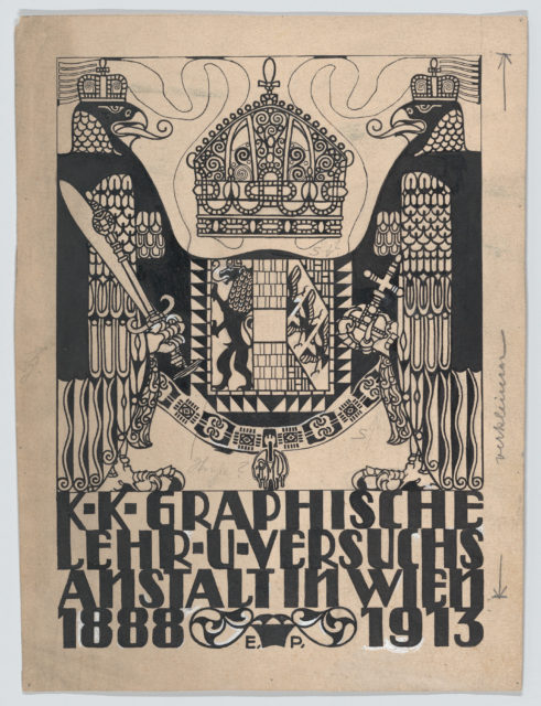 Design for a cover or title page for the 25th anniversary publication of the Viennese Graphic Design School (1888-1913)