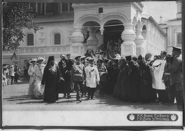 Emperor Nicholas II and Tsarevich Alexei sent to the Chambers of Tsar Mikhail Feodorovich. Ipatiev Monastery.