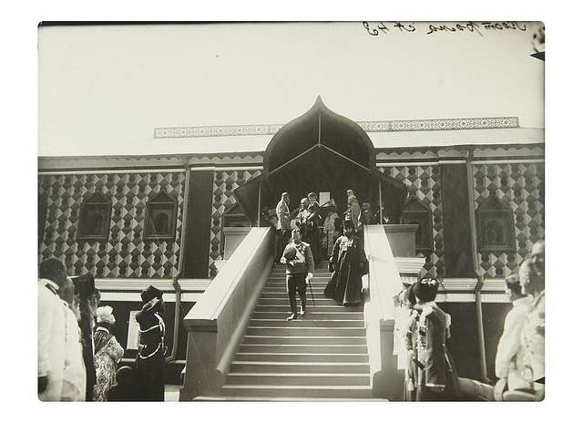 """Emperor Nicholas II descends the steps of the """"Tsar's Ladder"""" of the Chambers of Tsar Mikhail Feodorovich. Ipatiev Monastery."""