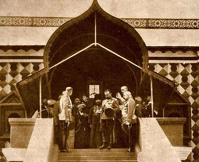 """Emperor Nicholas II on the steps of the """"Tsar's Ladder"""" the Chambers of Tsar Mikhail Feodorovich."""