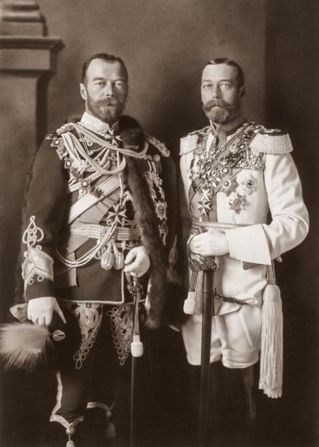 Emperor Nicholas II and King George V in German uniforms, Berlin, May 1913