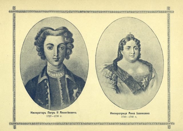 The Romanov dynasty. Emperor Peter I Alekseevich and Empress Anna Ioannovna, portraits.