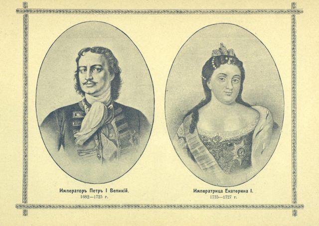 The Romanov dynasty. Emperor Peter I (Great) and Empress Catherine I, portraits.