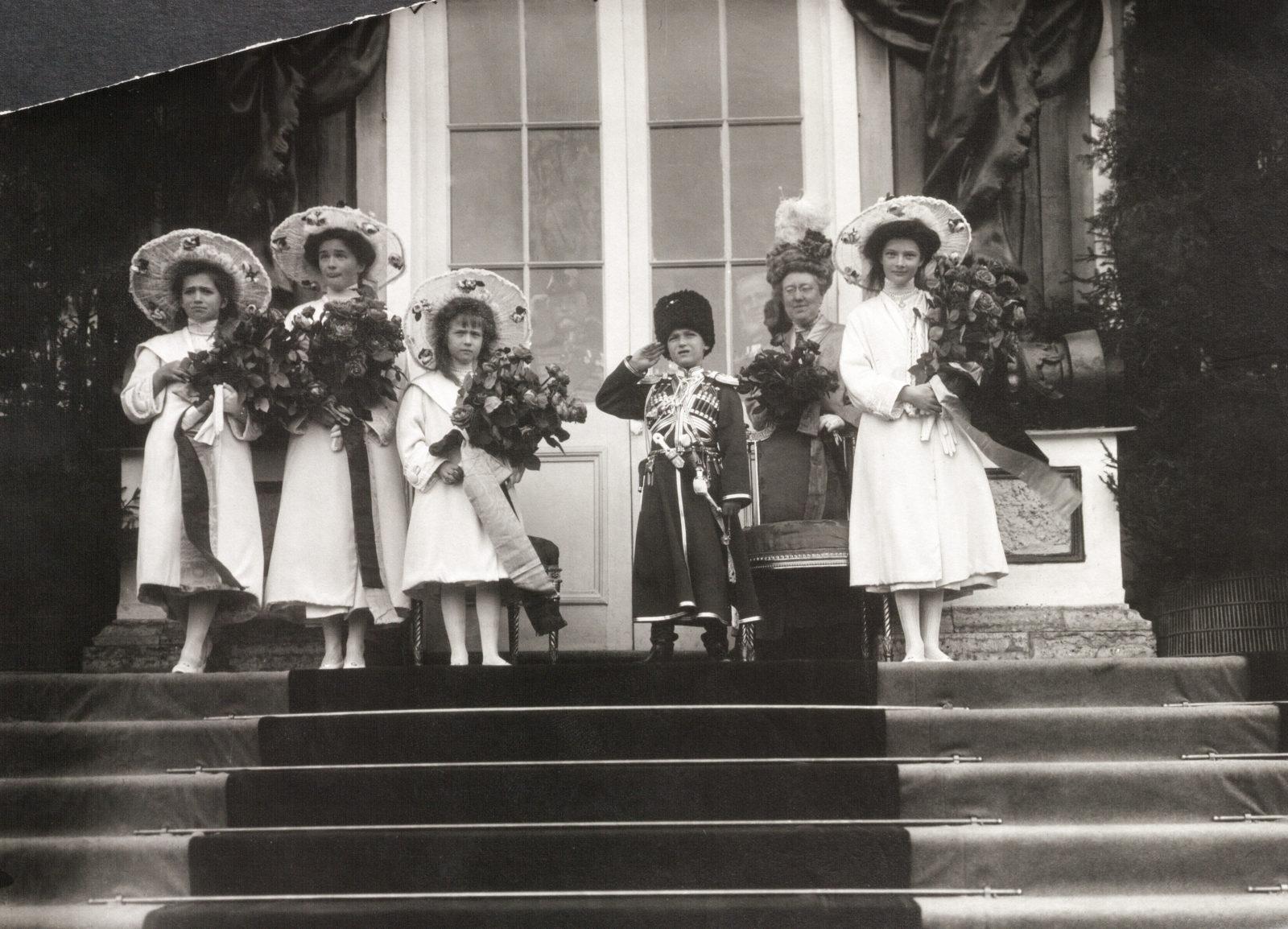 The Tsarevich Alexei and Grand Princesses Olga, Tatiana, Maria and Anastasia. Children of Emperor Nicholas II and Empress Alexandra Feodorovna.