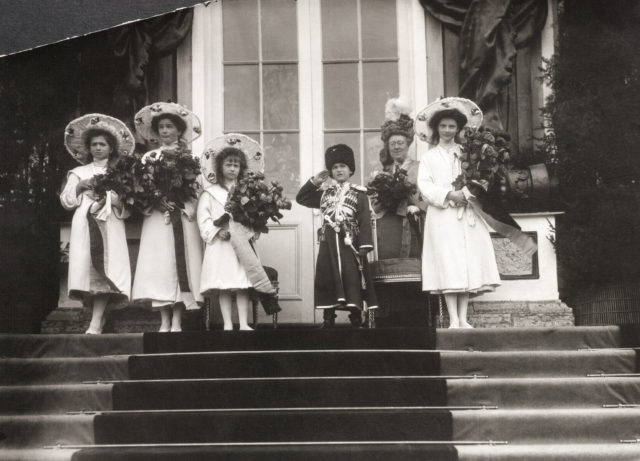 The Tsarevich Alexei and Grand Princesses Olga, Tatiana, Maria and Anastasia. Children of Emperor Nicholas II and Empress Alexandra Feodorovna.