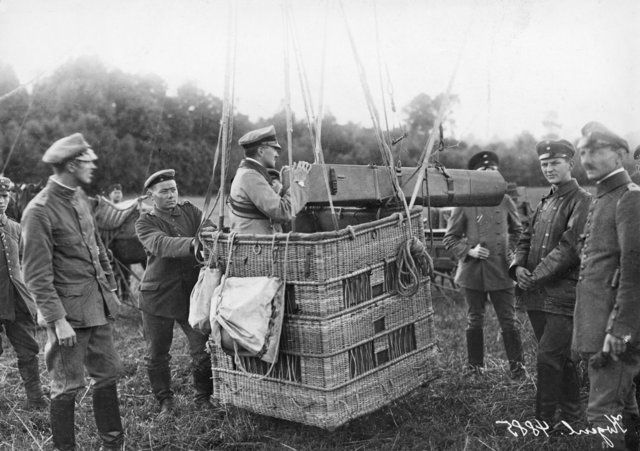 A German observation balloon fitted with a long distance camera