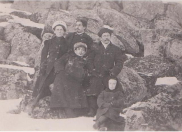 A group of political exiles sent from Onega for the impudence of the guard to a remote place. Onega, Arkhangelsk region, Russia, White Sea.