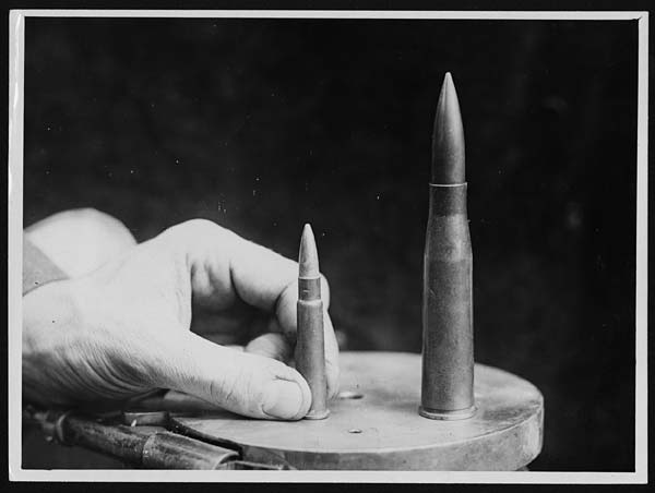 Bullets from a German anti-tank rifle and a British rifle, France, during World War I