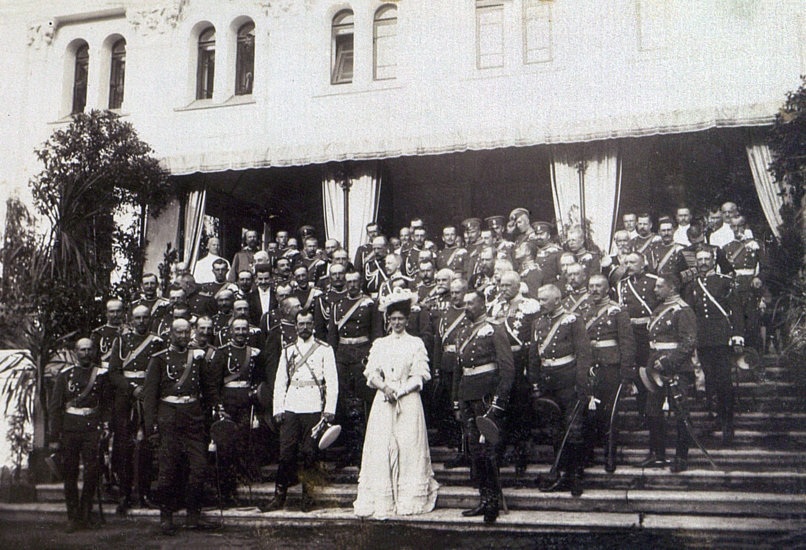 Emperor Nicholas II and Empress Alexandra Feodorovna with officers